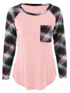 Single Pocket Plaid Sleeve T-Shirt