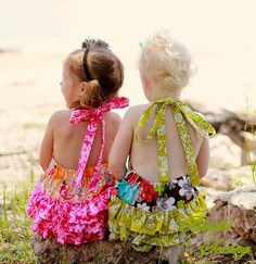 Sewing Patterns for Girls Dresses and Skirts: Sunsuit Sewing Pattern, Newborn to Two Years, Ruffled Romper Pattern