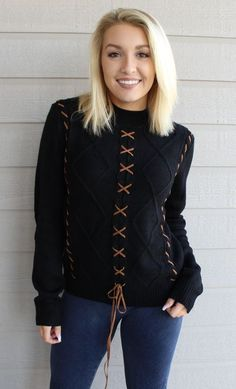 Black Mock Neck Sweater with Brown Lace-Up Detailing
