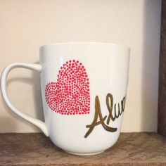 Love Always and Forever Coffee Mug; Hand Painted Coffee Mug; Red and Gold Hearts, Polka Dot Coffee Mug