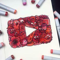regram @art_whisper By @vexx_art Kawaii Doodles, Flower Doodles, Doodle Art, Doodle Drawings, Cool Artwork, Love Drawings, Colorful Drawings, Social Media Art, Arte Anime