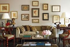 Leopard pillows accent this sofa in a room designed by Nina Griscom. Photo source: Architectural Digest