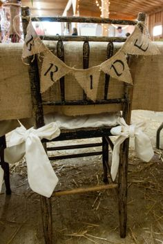 Burlap Bride and groom bunting. I would LOVE to make these :) We could add burlap and lace buntings other places, like the cake table, we could make an arbor for the ceremony...I'm buzzing with ideas :)