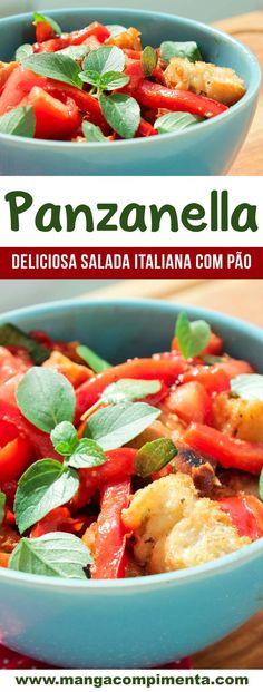 Panzanella - Salada Italiana para servir no almoço de domingo! #receita #comida #salada My Recipes, Italian Recipes, Healthy Recipes, Potato Salad, Sausage, Good Food, Health Fitness, Tasty, Dishes