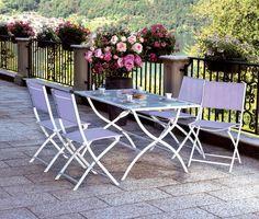 Set Giardino tavolo + 4 sedie in ferro e textilene per esterno