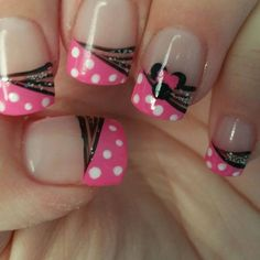 Minnie Mouse nails - French tip Get Nails, Fancy Nails, Trendy Nails, Pink Nails, Mickey Nails, Minnie Mouse Nails, Disney Nail Designs, Nail Art Designs, Nails For Kids