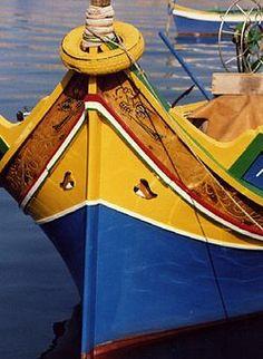 A typical maltese boat called luzzu, photo taken in Marsaxlokk Malta Gozo, Yellow Fish, Shades Of Yellow, Ocean Waves, Fishing Boats, Maltese, Dolphins, Cool Photos, Interesting Photos
