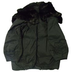 ERMANNO SCERVINO BLACK QUILTED JACKET WITH FUR on Vestiaire Collective