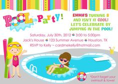 Printable Boy or Girl or Both Pool Party Swimming by CardMeKelly, $8.99