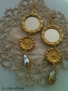 Orecchini  Collezione Cavalleria Rusticana fatti a mano  in ottone e goccia in vetro