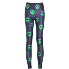 Chicnova Fashion Alien Printed Cropped Leggings ($7.40) ❤ liked on Polyvore featuring pants, leggings, cropped leggings, patterned leggings, print crop pants, skinny leg pants and print leggings