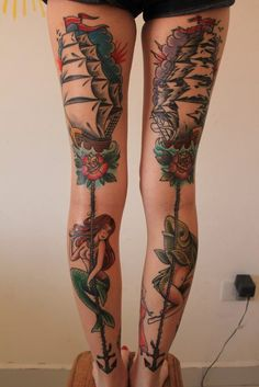 mermaid tattoos - legs...sometimes I don't know if I should pin on my inspiring art board or tattoos...