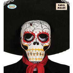"""Envie d'un masque de squelette original ? Vous avez cliqué au bon endroit ! Voici un masque de la gamme """"Day of the Dead"""" cette """"fête"""" des morts typique de la culture mexicaine.  En forme de tête de mort mais avec des couleur festive pour ce jour de l'année spécial !  Il sera parfait pour votre déguisement d'Halloween qui sera pas comme les autres grâce à ce masque."""