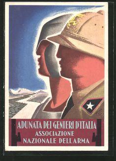 AK Aduanta dei Genieri d'Italia, Associazione Nazionale dell'Arma, ital. Postcard, ca. 1943.