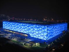 Watercube: Location: Bejing, China Year of Construction: 2008 Architects: PTW The illuminated facade is based on the natural pattern of bubbles, or a Weaire-Phelan structure.
