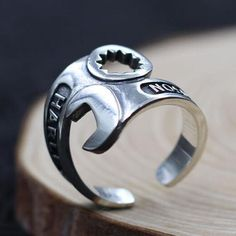 Men's Sterling Silver Spanner Wrap Ring