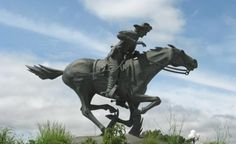 The Pony Express was a unique experiment in the development of the West. This bronze statue by Salina, Kansas artist Richard Bergen is located in a park in Marysville, Kansas. It commemorates the tough young riders and fast ponies who carried mail from St. Joseph, Missouri to Sacramento, California and back. Although the Pony Express lasted only 18 months, in 1860-1861, it holds an important place in the history of the nation.