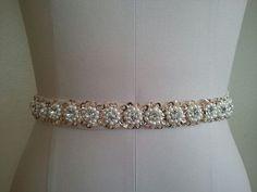 Wedding Belt, Bridal Belt, Sash Belt, Crystal Rhinestones, Pearls & Gold Sequins - Style B2700G