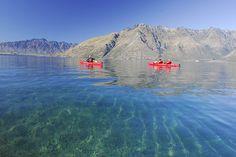 Kayaking across Lake Wakatipu, NZ