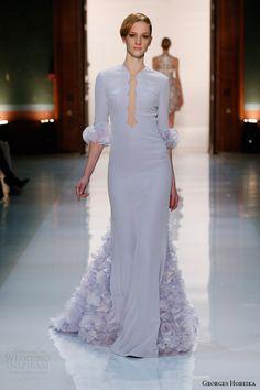 Жорж Хобейка мода весна 2014 Powder Blue платье рукава лепестки