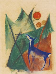 Blaues Reh in Landschaft (Blue deer in landscape) (1913-14) - Franz Marc
