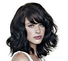 Wavy bob with bangs.  Want my bangs a bit shorter.  My hair isn't this thick so would this work on me?