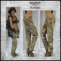 Post APOCALYPTIC PANTS Fallout Pants Apocalyptic Pants SiZE 10 Mad Max Pants Beige Pants Zombie Pants Wasteland Fashion by WastelandWearable by WastelandWearable on Etsy