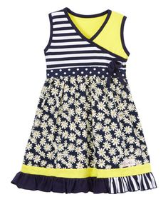Another great find on #zulily! Navy & Yellow Daisy Surplice Dress - Infant, Toddler & Girls #zulilyfinds