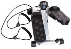 This Body Champ mini-stepper with resistance bands is designed to provide a low impact full body workout. Two hydraulic cylinders provide a smooth stepping motion. The electronic LCD monitor features Time, Count, Distance, and Calories Burned. This mini-stepper tones calves, quadriceps, tightening inner and outer thighs, and stregthening buttocks & abs...