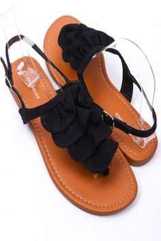 Black Ruffle Sandals