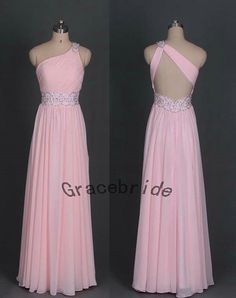 Long pink chiffon prom dresses with rhinestones holiday party dresses cheap elegant homecoming dress with one shoulder bridesmaid dress hot