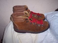 """Oh wow. I had identical boots like this except with diff color shoestrings.  ...called them Waffle Stompers. Hah!  """"Vintage Northwest Territory 70s mens brown suede...  wore these with our jeans, thermal shirt, and flannel or chambry shirt with the sleeves rolled up."""""""