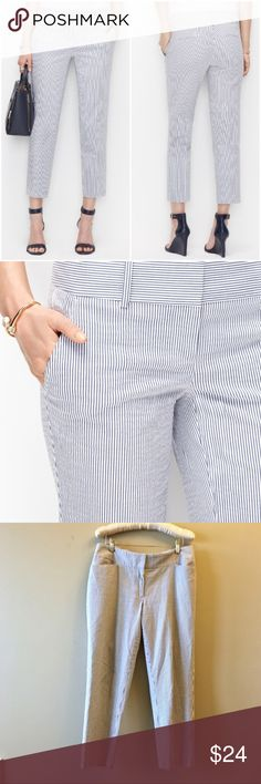 "Loft seersucker striped cropped pants Perfect condition. Nice lightweight seersucker fabric for warm weather. Classic summer styling. 25"" inseam, approx 34"" waist. Angled front pockets. Add this to a bundle to save 15%. LOFT Pants Ankle & Cropped"