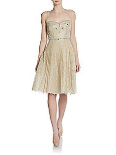 Mignon - Beaded Sweetheart Lace Dress