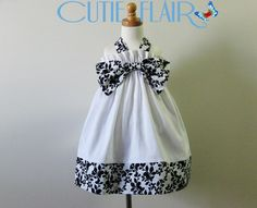 Halter Dress White Black floral Trim and Bow Size 4T by cutieflair, $35.00