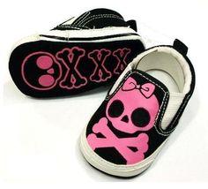 $16 |  www.mummysmonsters.com | Girls Pink & Black Skull Shoes