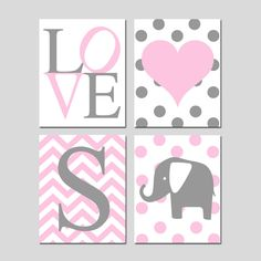 Baby Girl Nursery Wall Art Pink and Gray  Set of 4 Prints