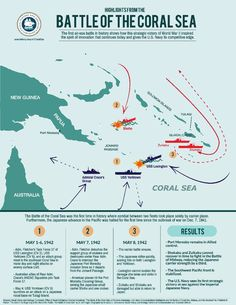 [Map] Battle of the Coral Sea map and infographic published 3 May 2017 World History Teaching, World History Lessons, Us History, Us Marines, Naval History, Military History, Ww2 Facts, Military Tactics, Imperial Japanese Navy