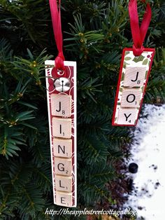 Even though I'm not decorating for Christmas until Thanksgiving arrives, the planning and crafting has begun! Handmade Christmas Decorations, Christmas Ornament Crafts, Christmas Crafts For Kids, Holiday Crafts, Christmas Diy, Christmas Things, Christmas Baubles, Xmas Decorations, Scrabble Ornaments Diy