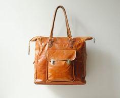 Vintage Leather Bag / Chestnut Brown Tote by LittleDogVintage