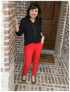 Loving my red pants from LOFT.  They come in black too, and they are perfect for work!