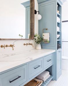 [New] The 10 Best Home Decor Today (with Pictures) - Soft colors will make your daily routine much more peaceful! Design by studio-mcgee Bathroom Inspiration, Light Blue Bathroom, Bathroom Decor, Bathroom Redo, Bathrooms Remodel, Bathroom Makeover, Painting Bathroom, Modern Bathroom Vanity, Bathroom Design