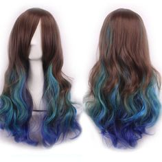 Trendy Inclined Bang Multicolor Gradient Long Shaggy Wavy Synthetic Costume Play Wig For Women - OMBRE 2 Long Hair Wigs, Curly Wigs, Long Curly Hair, Curly Hair Styles, Short Hair, Wig Styles, Anime Curly Hair, Cheap Cosplay Wigs, Natural Waves Hair
