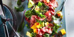Boodschappen - Fruitige rosbiefsalade met limoendressing
