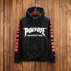 Justin Bieber purpose the world tour plus velvet hooded hedging sweater-black