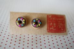 Round She Goes - Market Place - Chocolate Donut Polymer Clay charm jewelry earrings stud