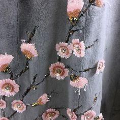 Сакура...вышивка на стриженной норочке...сотворили совместно с командой единомышленников...Авторская вышивка,пайетки,стеклярус,стразы....