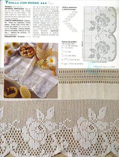 Diy Crafts - Kira scheme crochet: Scheme crochet no. Filet Crochet, Crochet Lace Edging, Crochet Borders, Freeform Crochet, Crochet Chart, Crochet Doilies, Knit Crochet, Crochet Flower, Crochet Designs