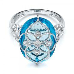 Vintage Filigree Blue Topaz Fashion Ring - Vanna K at Joseph Jewelry. Bellevue - Seattle