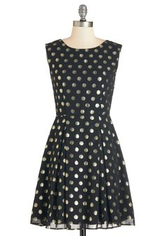 Dinner Party Hostess Dress - Gold, Polka Dots, Party, Holiday Party, A-line, Sleeveless, Woven, Black, Scoop, Mid-length